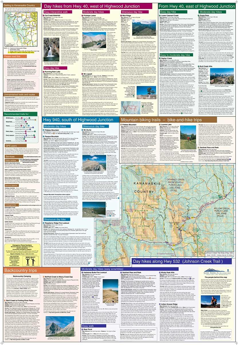 Highwood Amp Cataract Creek Map Kananaskis Country